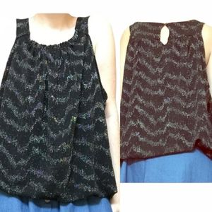 Puff blouse with glitter